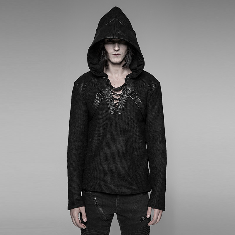 PUNK RAVE Men's Punk Pullovers Sweater Coarse Grain Wool Dragon Wing Hat Personality Daily Casual Black Sweater