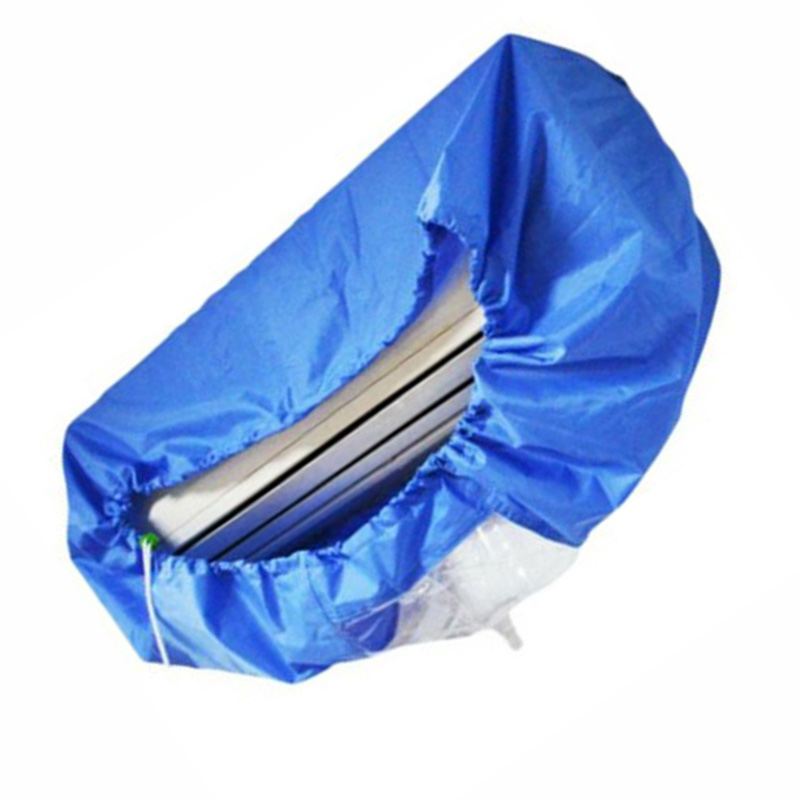 1* Home Air Conditioner Protector Waterproof Cleaning Cover Anti-dirty Blue Bag