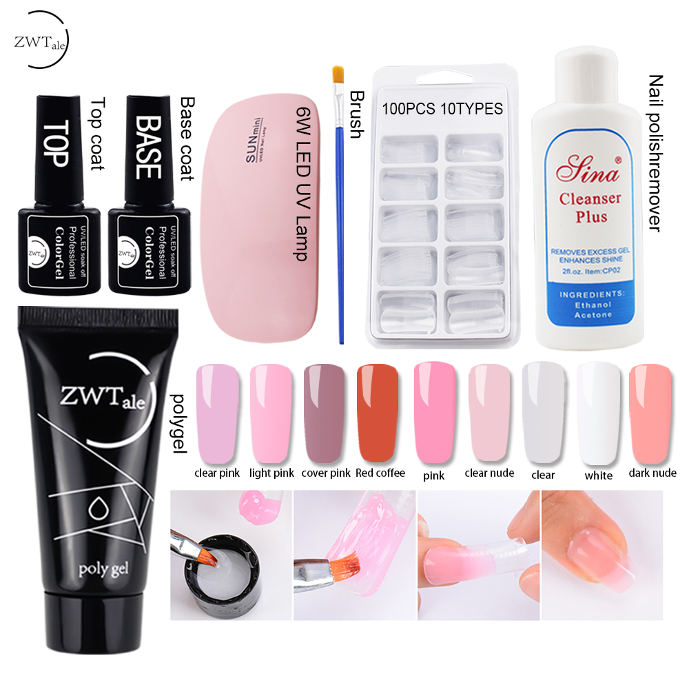 30g Polygel Nail Acrylic Poly Gel Set Pink White Clear Crystal UV LED Builder Gel Tips Slip Solution Quick Extension Gel in Nail Gel from Beauty Health