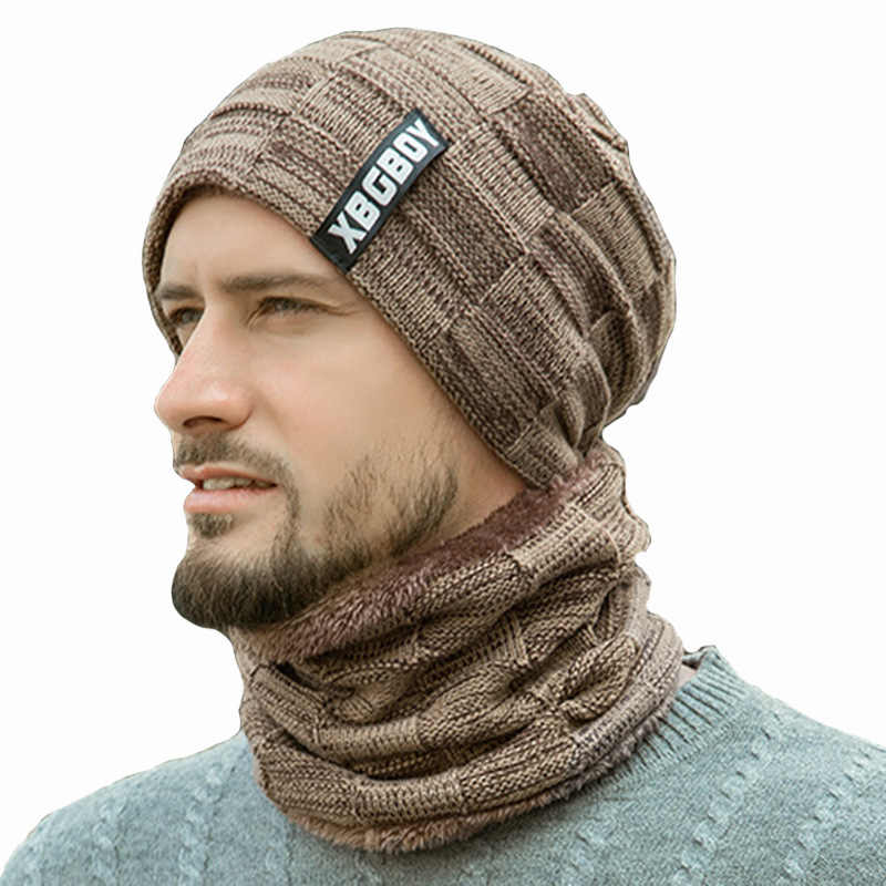 Pria Hangat Rajutan Topi Leher Syal Set Lapisan Bulu Tebal Hangat Merajut Beanies Musim Dingin Topi untuk Pria Topi Pria Hitam skullies Topi Anggur