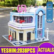 15037 город Streetview Игрушки совместимы с MOC 32566 в центре города Diner Сборка строительные блоки кирпичи Дети Рождественский подарок детские игрушки