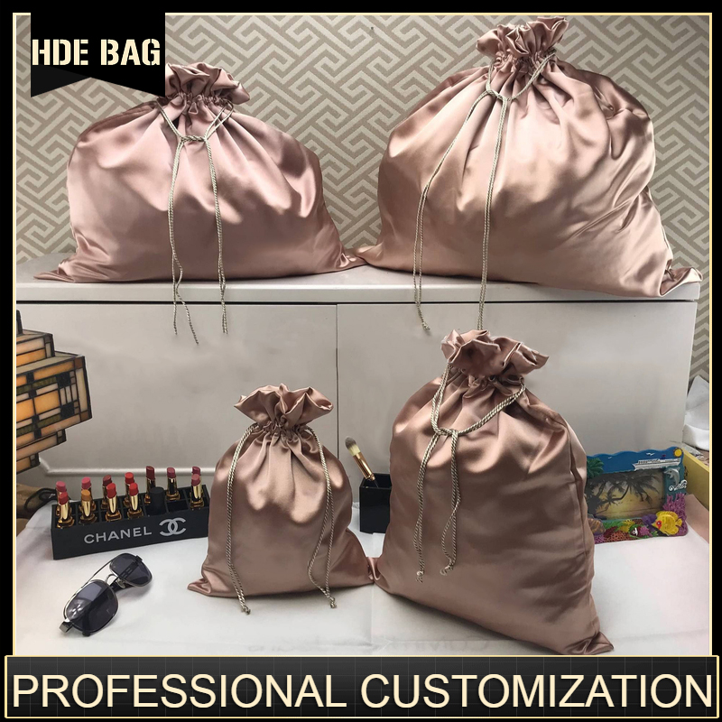 Satin Bag For Packaging Hair Jewelry/Makeup/Gift/Wedding/Party/Storage/Wigs/Bundle/Shoe Bags Luxury Silk Pouch Custom Print Logo