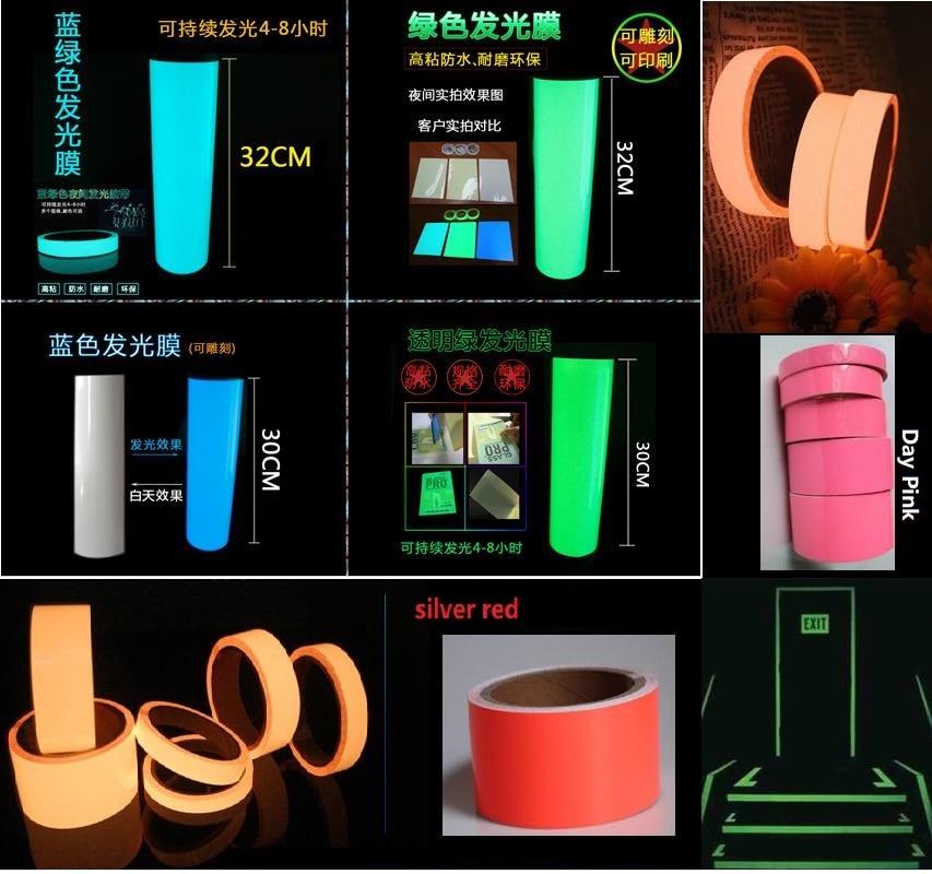30cm*5M Multicolor PET Luminous Tape Self-adhesive Glowing Night /Dark Safety Stage Striking Warning Safety Tape