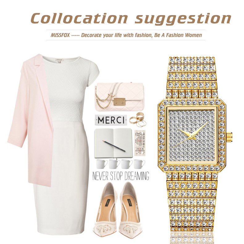 Diamond Watch For Women Luxury Brand Ladies Gold Square Watch Minimalist Analog Quartz Unique Female Iced Out Watch - womens-watches