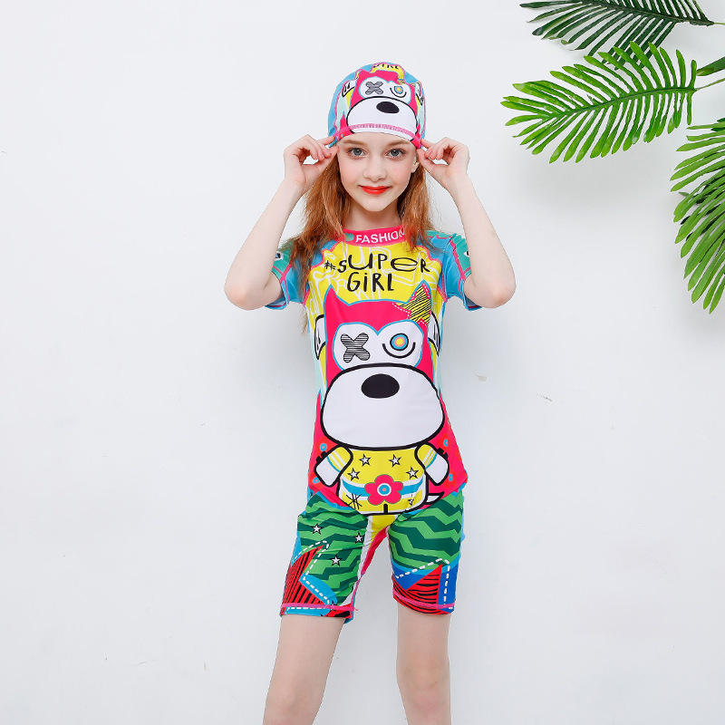 Hot Selling GIRL'S Swimsuit Fashion Cute Cartoon One-piece Swimsuit For Children With Swim Cap Big Boy Sun-resistant Boxers
