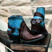2020 Winter PU Martins Boots Vintage Patchwork Color Metal Decoration Women Ankle Boots Big Size SD017