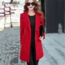 Free Ostrich Women Autumn Winter Woolen Coat Long Sleeve Turn-Down Collar Outwear Jacket Elegant Overcoats Plus Size N30 cheap COTTON Cotton Wool A-Line Casual Pockets Button Solid Double Breasted REGULAR women Coat Full woolen coat women woolen coat women winter