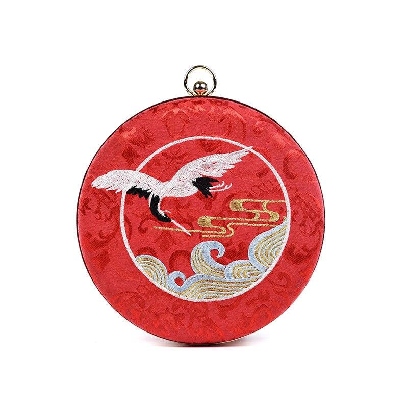 Мода китайский стиль круглый вечерние сумки с принтом птицы для маленьких сумочки с вышивкой Элегантные Наплечные сумки, женские сумочки С
