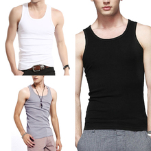 Men's Close-fitting Vest Fitness Elastic Casual O-neck Breathable H Type All Cotton Solid Undershirt