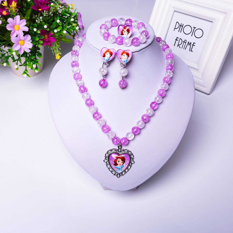 Children Toys For Girl Earrings Rings Necklace Bracelet Toys Set Girl Frozen 2 Elsa Princess Bracelets Accessories Baby Pendants