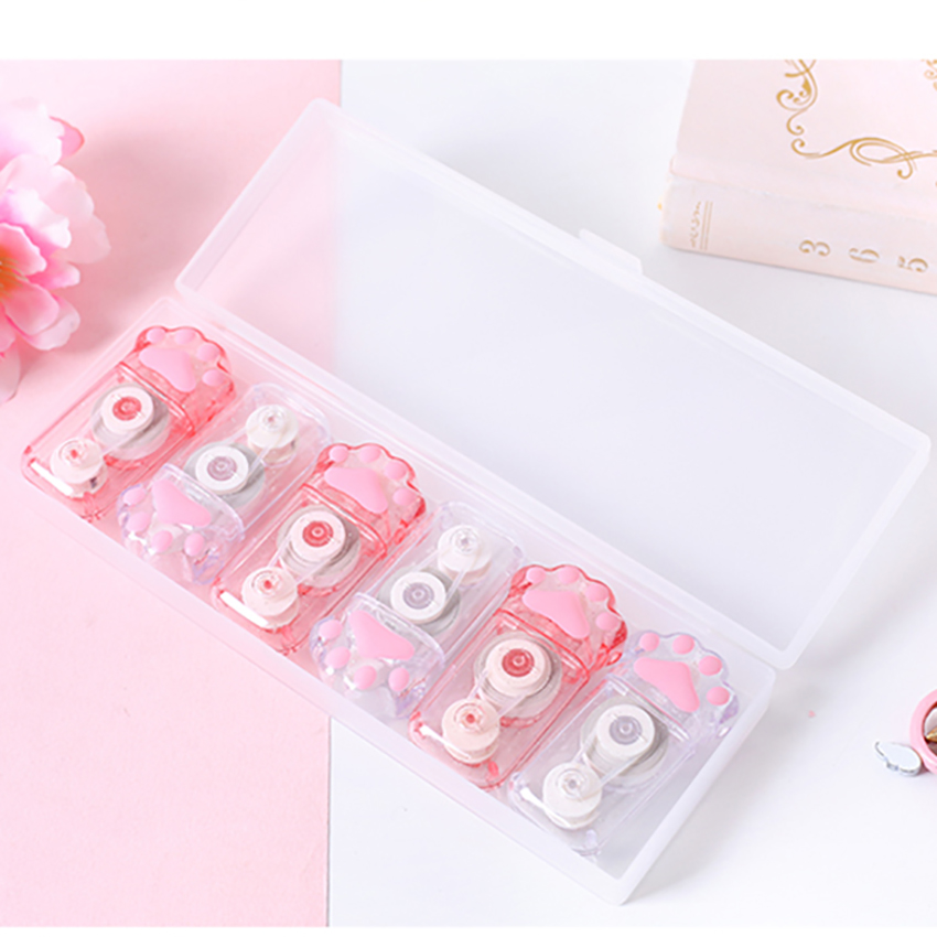 1 Set Creative Cat Claw Correction Tape Cute Cartoon Corrector School Stationery Kids Writing Correction Tape Combination Kit