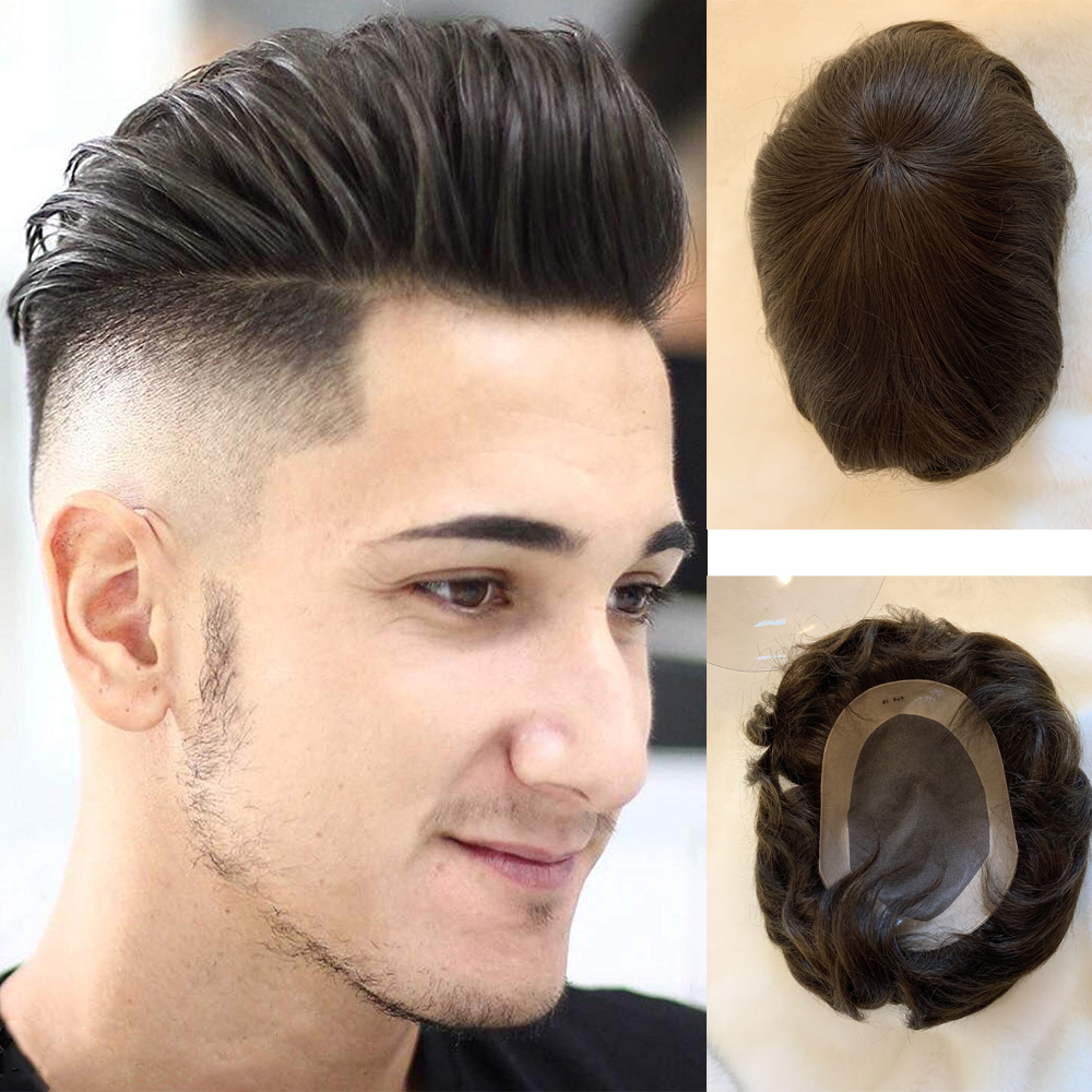 BYMC European Human Hair Pieces For Men Human Hair Toupee With 10