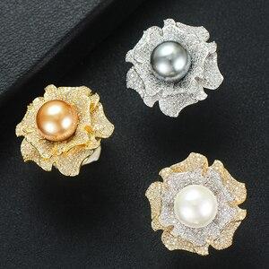 Image 2 - GODKI 2019 Trendy Imitatie Parels Bedels Kubieke Zirkoon Verklaring Ringen voor Vrouwen Vinger Ringen Kralen Bohemian Strand Sieraden