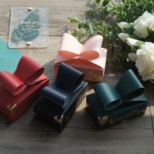 10 шт. Золотая бумажная коробка с бантом в качестве мыла, печенья, конфет, маленькая подарочная упаковка, Рождественские Свадебные подарки, у...