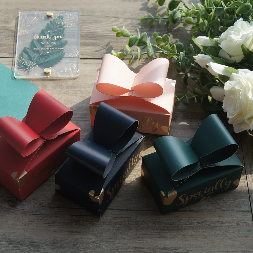 Gold 10pcs Bow Paper Box As Soap Cookie Candy Little Gift Packaging Christmas Wedding Favors Gifts Decoration
