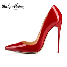 Pumps Basic-Shoes High-Heels Onlymaker Women's Dress Stiletto Pointed-Toe Size Genuine-Leather