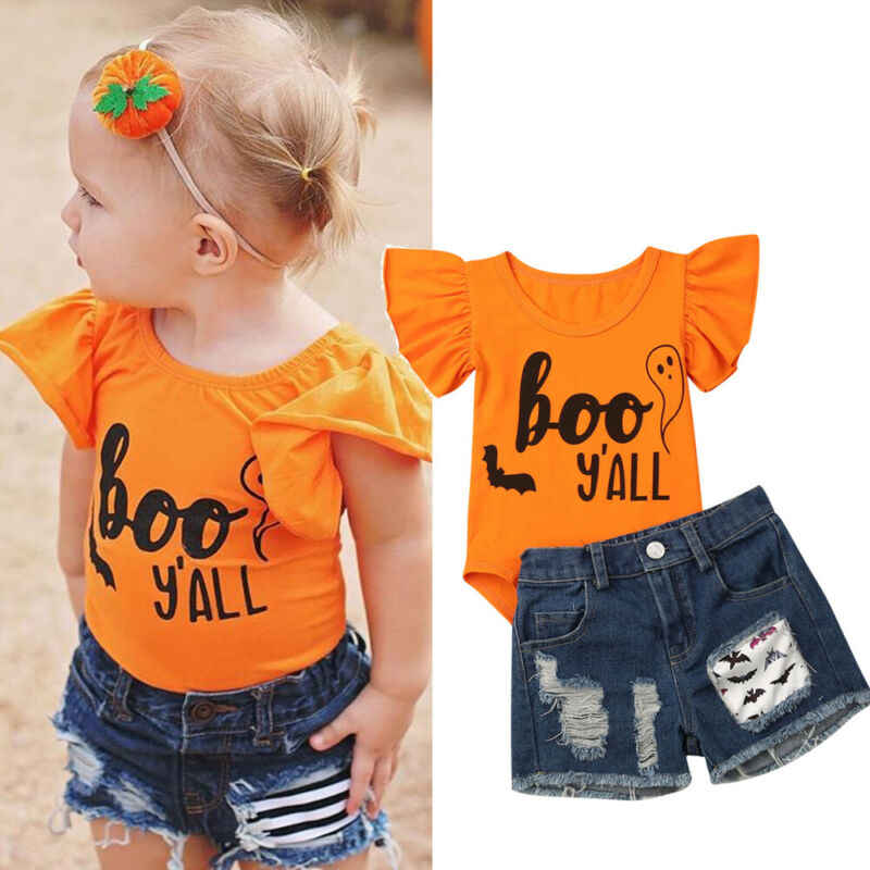 New 2019 Halloween Newborn Baby Girl Romper Tops Denim Short Hole Pants Outfit Cosplay Costume Set