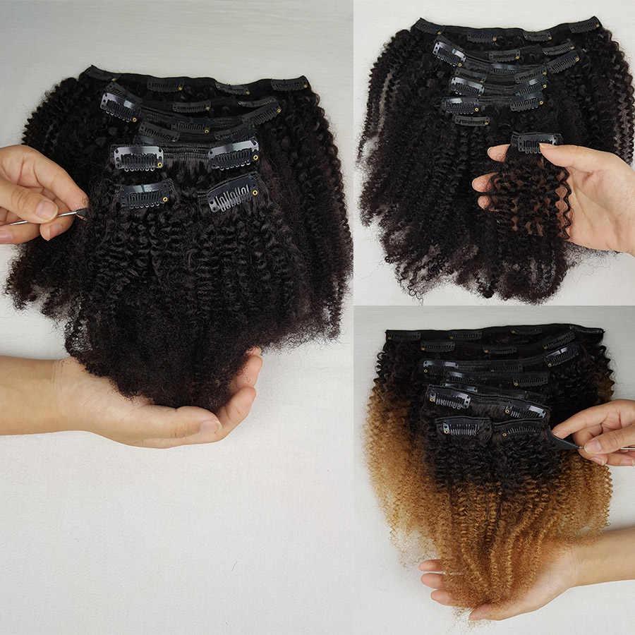 ShowCoco Clip in doczepy z ludzkich włosów Afro perwersyjne kręcone klipsy ins maszynowe Remy potrójne wątki ludzkie włosy dla czarnych kobiet