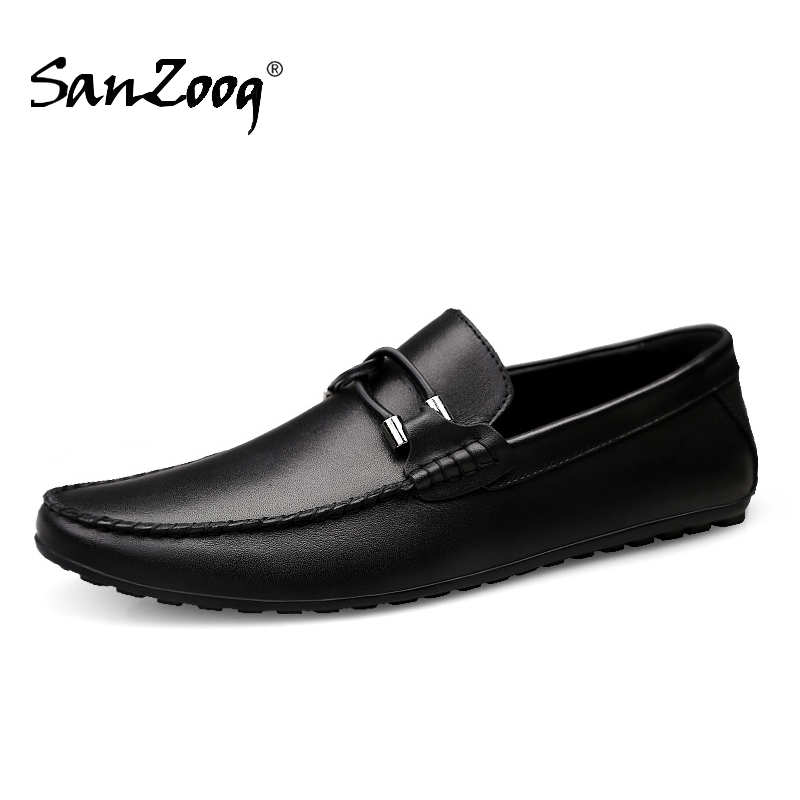 Spring Autumn Genuine Leather Slip On Men Shoes Moccasins Loafers Mocassin Homme Mocasines Designer Driving Shoes Casual White