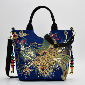 цена на 2020 Bag Ethnic Embroidery Bag Canvas Peacock Embroidery Small Female Bag Middle-aged One Shoulder Portable Diagonal Bag