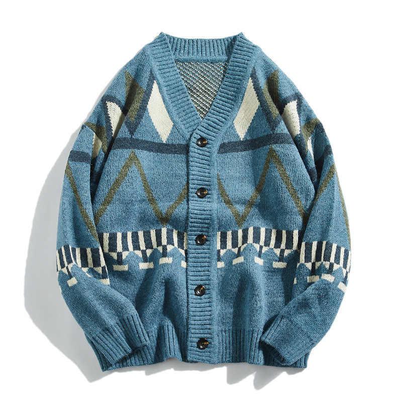 봄과 가을 새로운 남성 니트 카디건 자 켓 국립 바람 스웨터 패턴 느슨한 일본 남자 자 켓