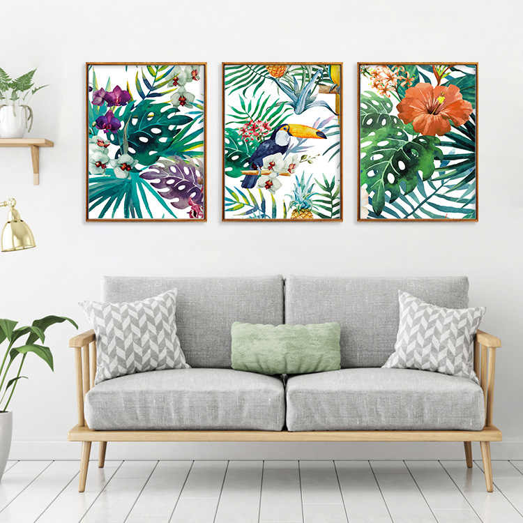 Tropical Forest Flower Leaves Watercolor Plant Bird Art Poster Print Picture Wall Decor Canvas Painting Home Decor