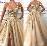 Champagne Prom Dresses 2020 Floral One Shoulder See Through Sexy Slit Long Sleeveless vestidos de graduacion Evening Gown Custom