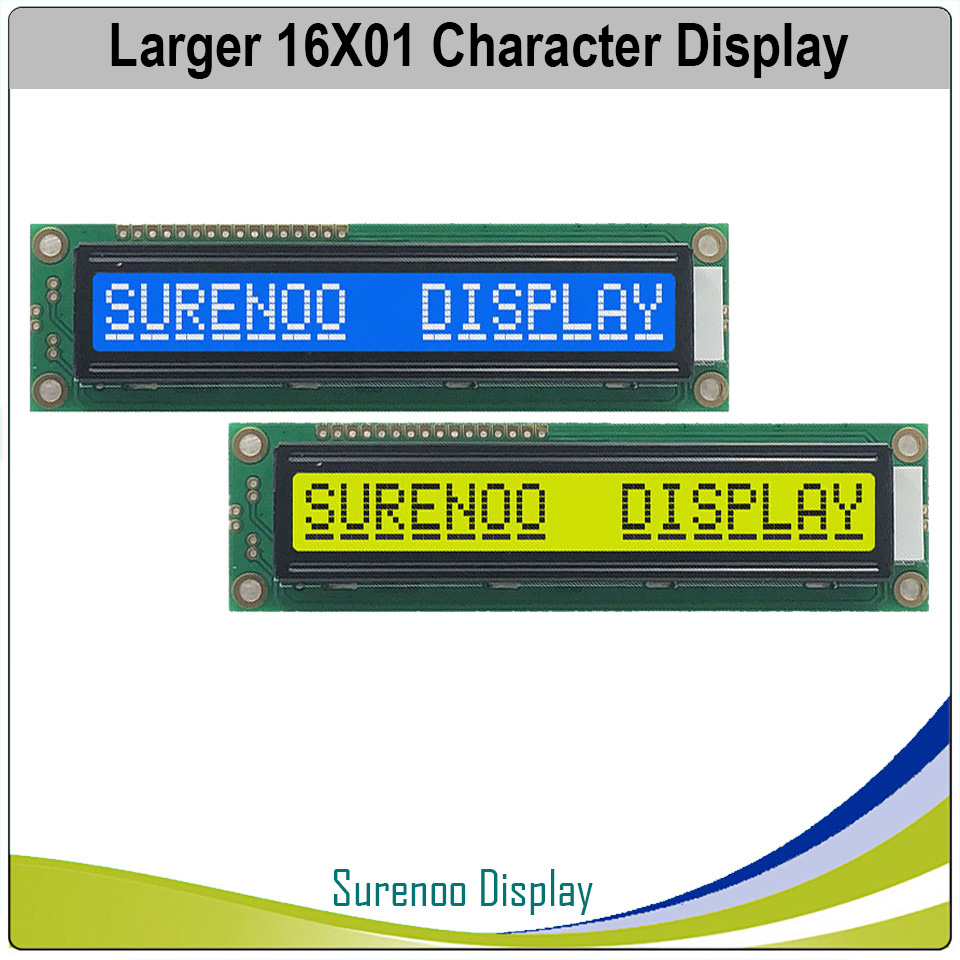 Larger 161 16X1 1601 Character LCD Module Display Screen LCM Blue Yellow Green With Backlight Build-in SPLC780D Controller