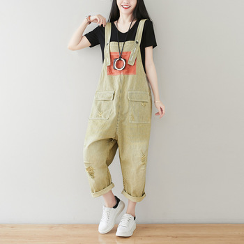 Casual Loose Jeans Overalls for Women Summer 2020 Baggy Jumpsuit Denim Vintage Ripped Bib Harem Pants with Big Pockets Plus Size цена 2017