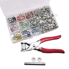 200Pcs/Set Snap Fasteners Kit Tool 10 Colors 9.5mm Metal Buttons Rings with Fastener Pliers Press for Clothing
