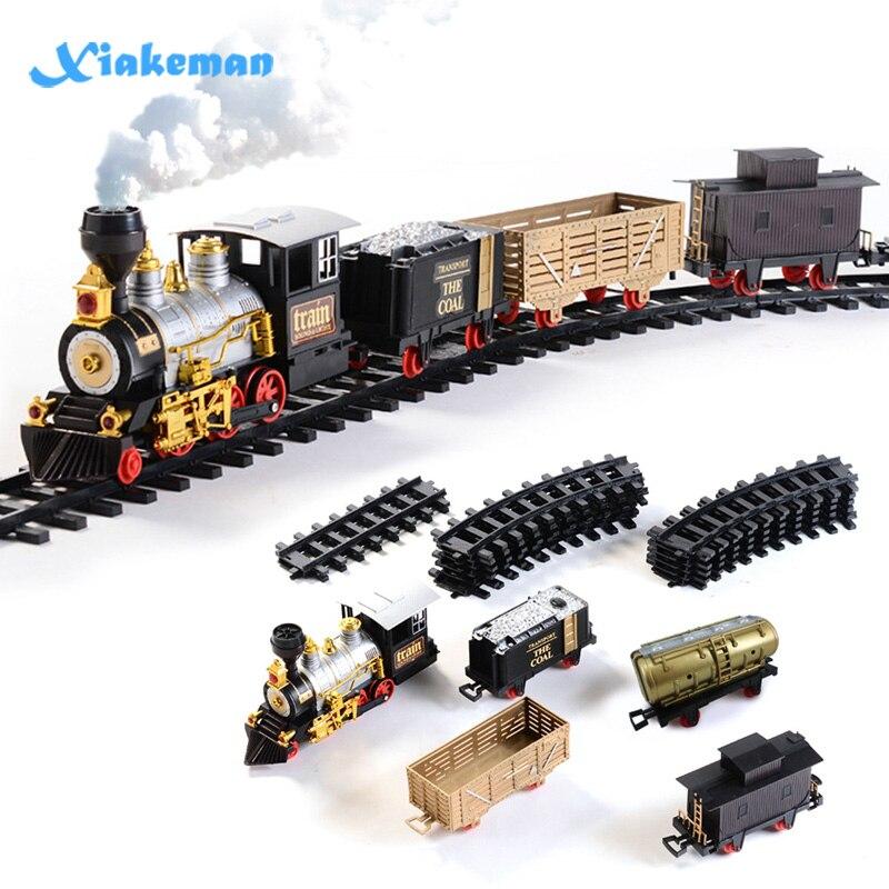 Conjunto de juguete tren simulación Retro vapor fumar música eléctrica luces vía de tren de juguete niños y niñas regalos de Año Nuevo