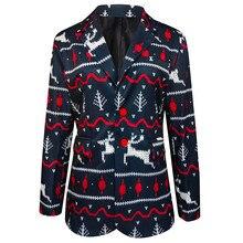 Мужские Рождество Печать Санта Лось Куртка Верхняя одежда Отложной Воротник Пальто Новые Поступления Slim Fit Мужской Рубашка Однотонный Длинный Рукав Брит