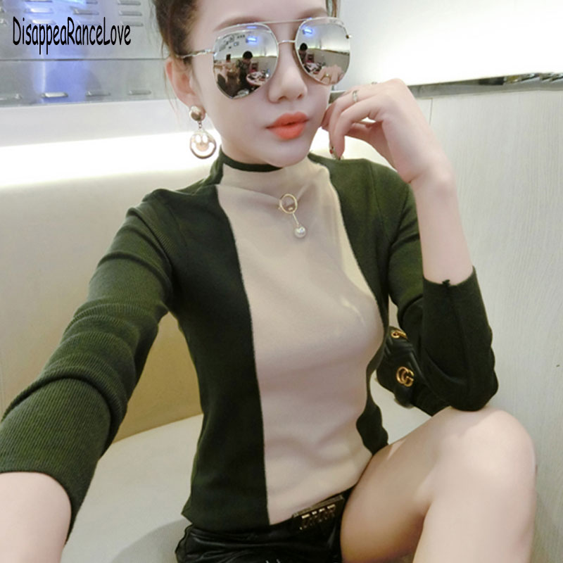 Patchwork Sweater Turtleneck Women Wool Blends Sweater Woman Pullover Sweaters Female Patchwork Women Cashmere Sweaters Fashion