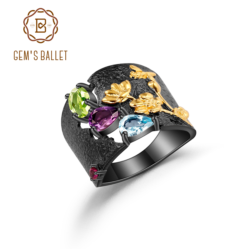 GEM'S BALLET Natural Multicolor Gemstones Ring 925 Sterling Silver Handmade Humming Bee Flower Floral Garden Band Ring For Women