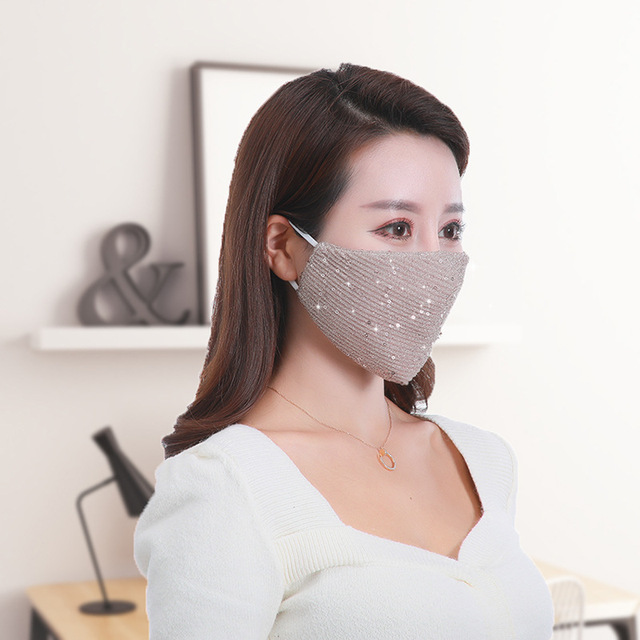 Women Adjustable Solid Color Masks 1pcs Summer Fashion Breathable Sequin Ice Silk Mouth Masks Mouth-muffle Face Cover 2