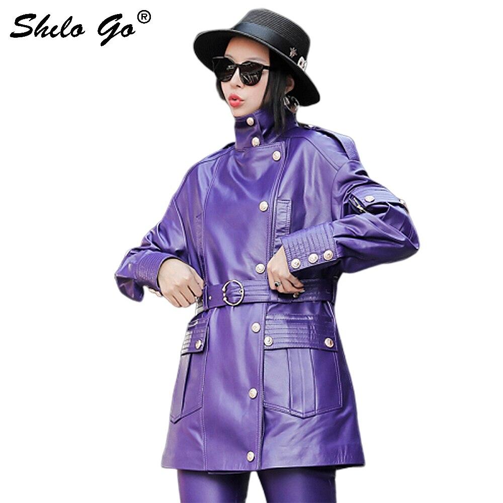 Veste en cuir véritable multicolore Highstreet col roulé col boutonné avant goutte épaule manteau femmes automne Wrap ceinturé Outwear