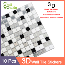 3D Wall Sticker Marble mosaic Brick Self-Adhesive Waterproof paper 10pcs DIY for Kitchen Bathroom Home Decal