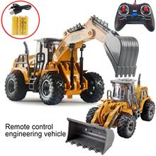 Children USB Charge Remote Control Mini Excavator Construction Vehicle Model Toy Gift Pull Back Car Mobile Vehicle Model Toys