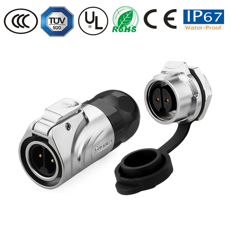 Waterproof Connector M16 2 Pin IP67 Power Metal Connector Round Plug Male Plug Female Socket 10A Electrical Seal Connector