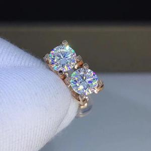 Image 3 - Poezja sklepu z żydami serce Moissanite Cut Total 1.00ct diamentowy Test przeszedł Moissanite kolczyki w kolorze różowego złota biżuteria prezent dla dziewczyny