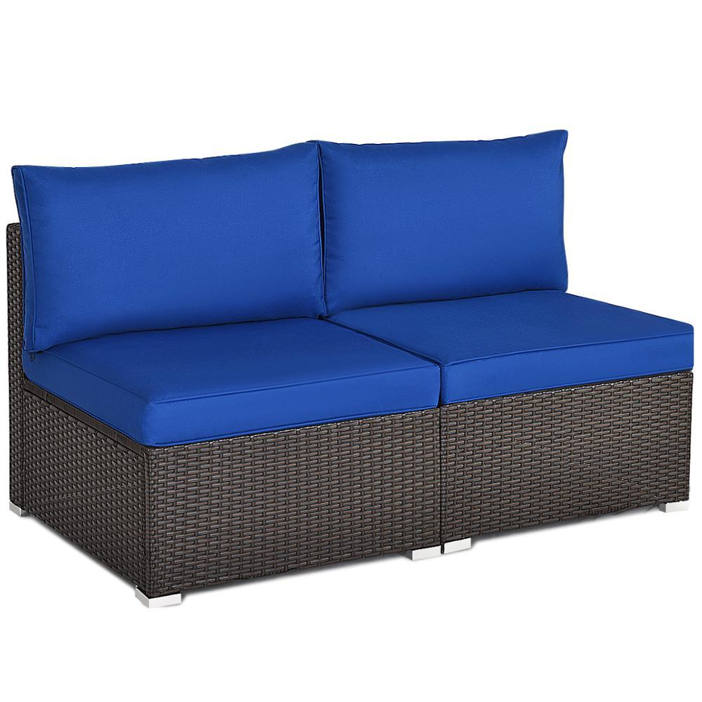 2 uds. Sofá de ratán de Patio sin brazos muebles seccionales conversación con cojín Azul Marino Universal de doble sofá sin brazos cubierta de cama asiento plegable funda moderna stretch cubre el sofá barato Protector elástico sofá cubierta