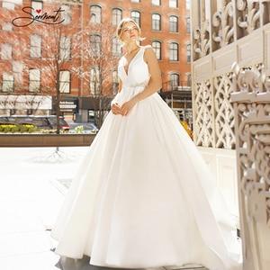 Image 1 - BAZIIINGAAA  Luxury Wedding Dress Satin V neck Sleeveless Bridal Luxury Crystal Decoration Wedding Dress Support Tailor made