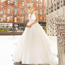 BAZIIINGAAA فستان زفاف فاخر ساتان رقبة v بدون أكمام زفاف فاخر كريستال الديكور فستان الزفاف دعم خياط