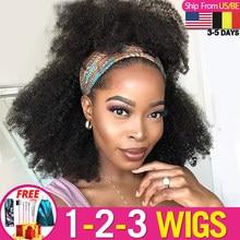 Peluca con diadema rizada Afro, cabello humano brasileño, Remy, peluca completa hecha a máquina para mujeres negras, pelo Janin, 1-2 unids/lote
