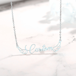 Angel Wings Necklaces Personalized Nameplate Pendant Stainless Steel Custom Name Collier For Kid Girlfriend Gift Jewelry