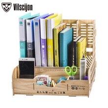 купить DIY Storage Box Multifunction File Holder Wooden Document Desktop Office Desk Organizer School Supplies Vilscijon D9121 дешево