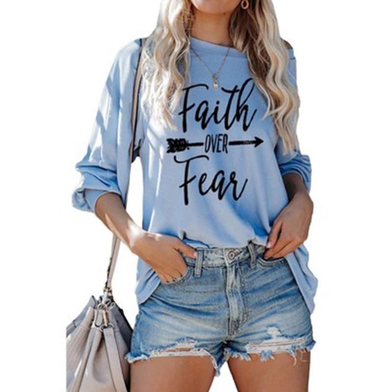 Купить женская свободная футболка с круглым вырезом длинным рукавом
