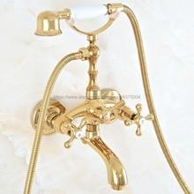 Bathtub Faucet Wall-Mounted 2-Handle Golden Rain Nna810 Tap-Set Round Luxury