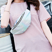 LKEEP 2020 New Holographic Waist Bag For Women Pink Gold Black Laser Fanny Pack Belt Bag ladies Bum Bag Unisex Banana Bags tanie tanio 589154 PU leather Solid Japan Style Pillow 30cm