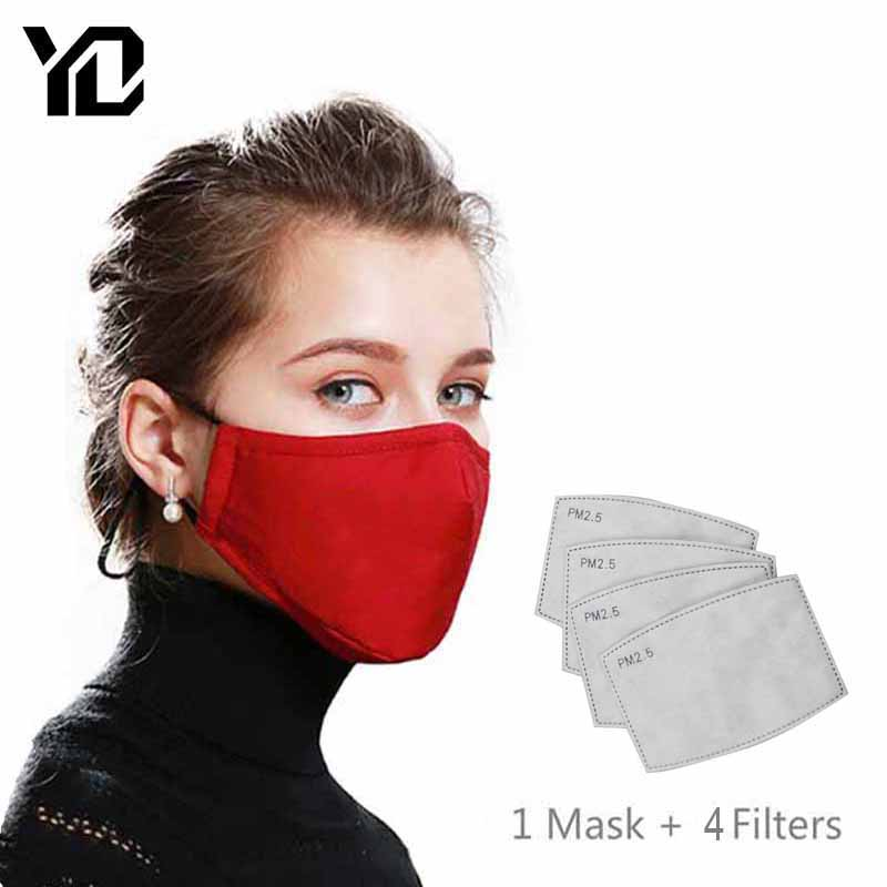 1Pcs Reusable Black Mouth Mask Cover PM2.5 Anti-Dust Face Mask Activated Carbon Filter Respirator Windproof + 4pcs Masks Filter
